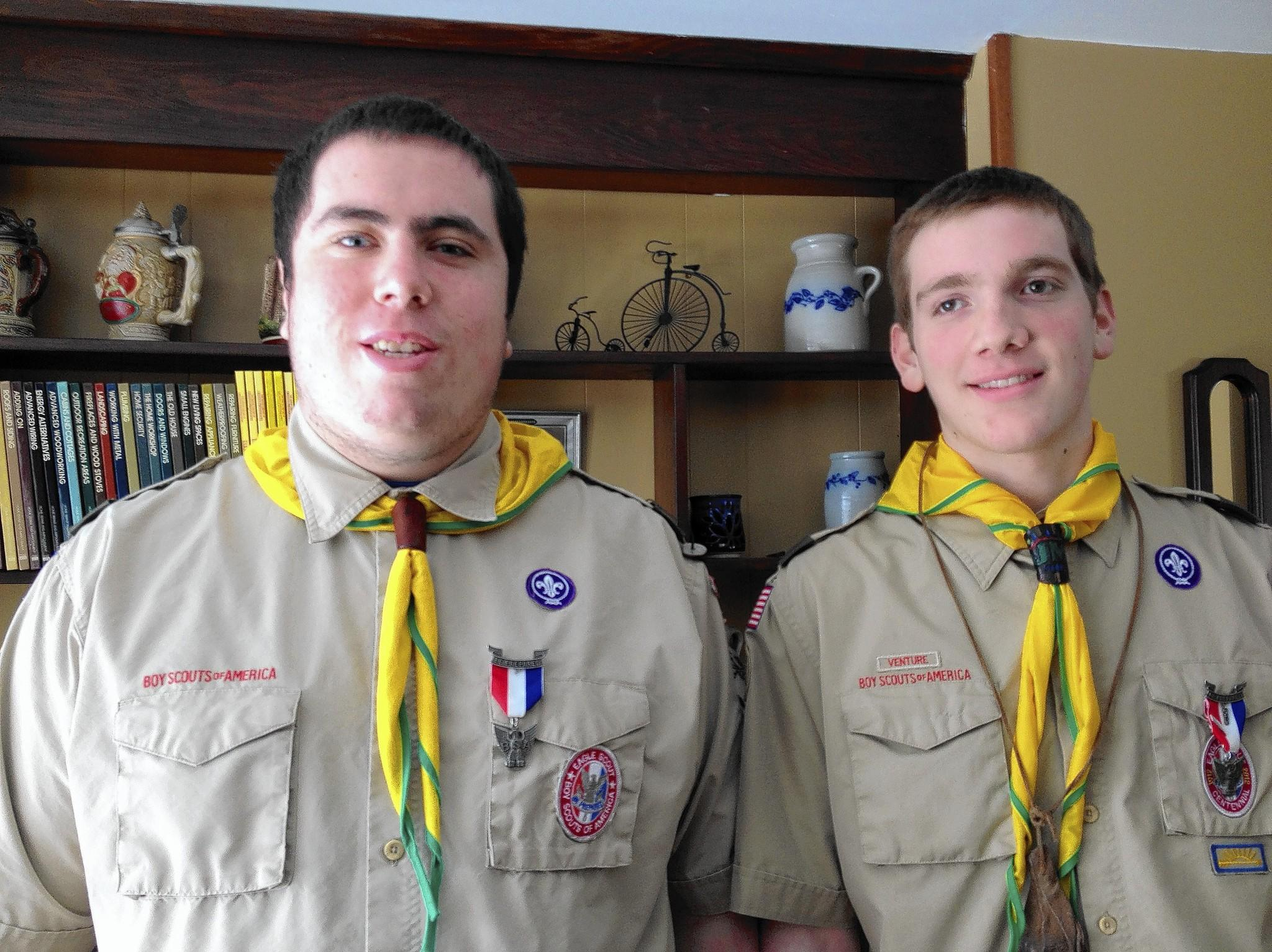 Eagle Scouts Brian Fearon, left, and Jonathan Maidment are hiking the Appalachian Trail to raise research money for Alpha-1 antitrypsin deficiency. Maidment has the genetic disorder.