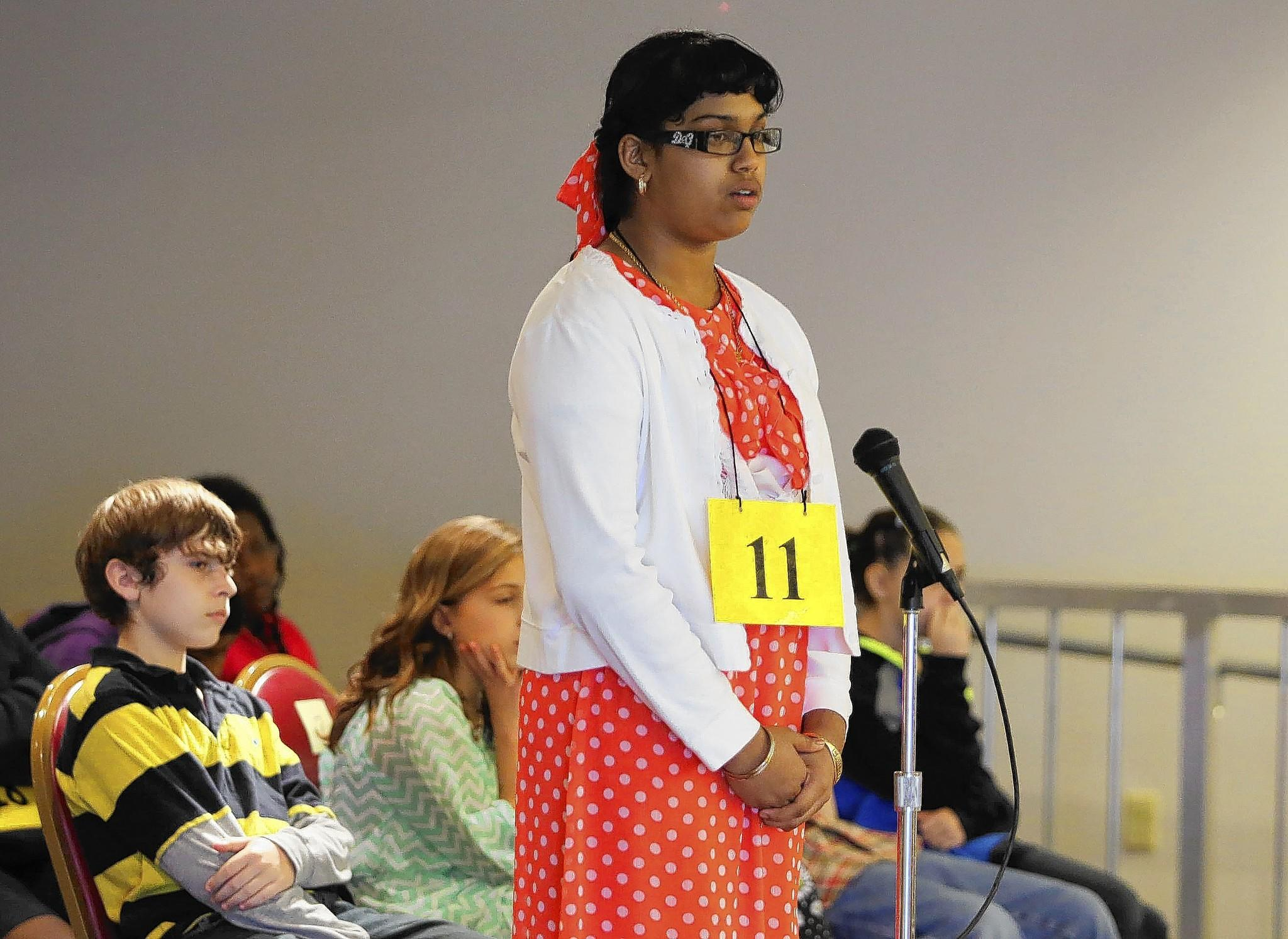 Crystal Harris of Umatilla Middle School is the winner of the 2014 Lake County Spelling Bee. The City of Eustis hosted the event on Thursday, March 6, 2014 at the Community Center. (Tom Benitez/OrlandoSentinel)