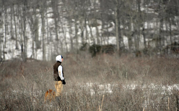"Chris Cryder, special projects coordinator for the Ct. Fund for the Environment and Save The Sound, walks through a frozen Pequot Swamp, part of the 1,000 acre coastal forest known as ""The Preserve."""