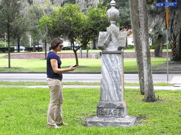 City of Winter Park cemeteries manager Janna Baumann at Palm Cemetery in June.