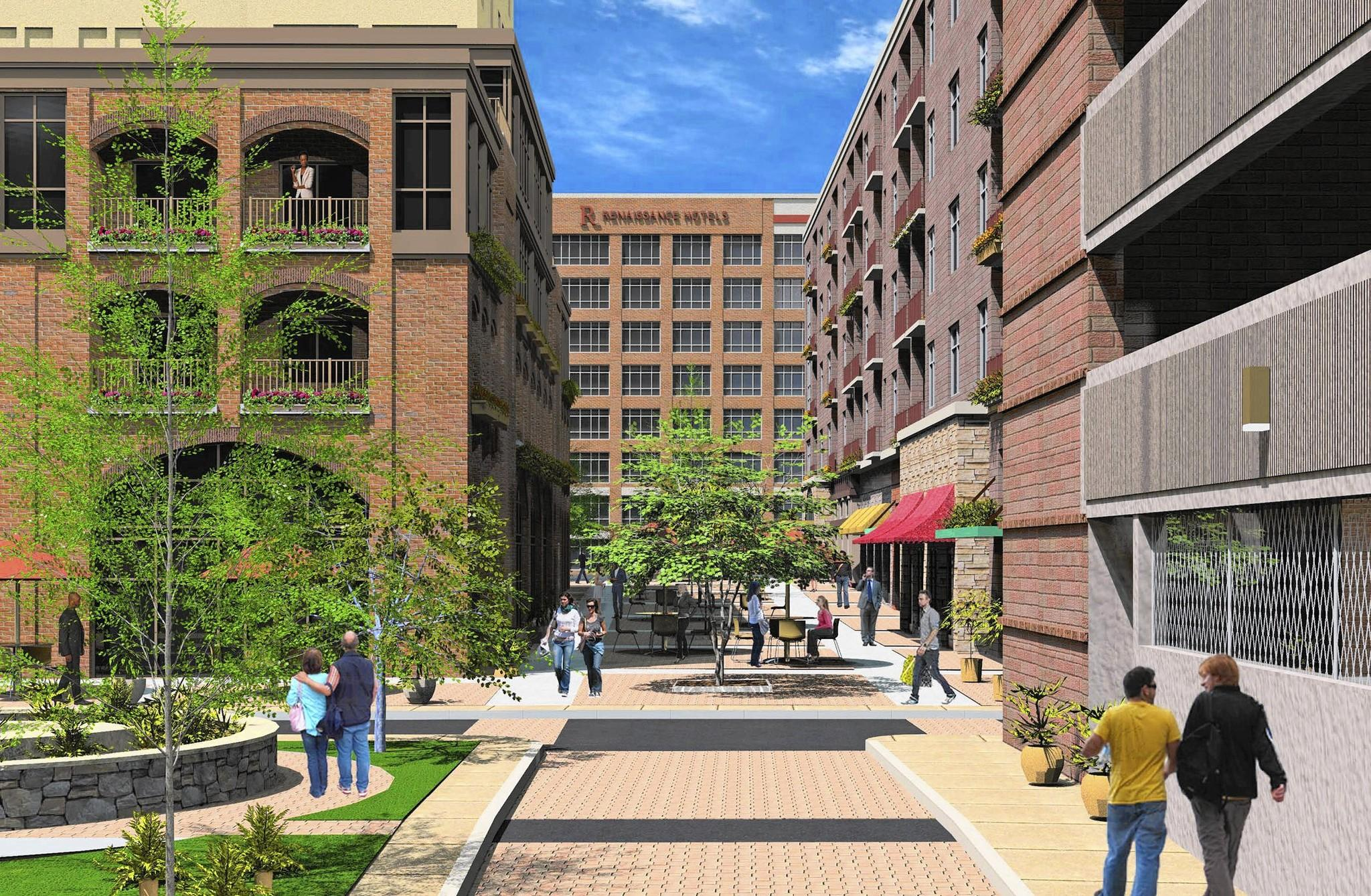An artist's rendering of Four City Center, which will bring 168 luxury apartments and about 10 retail and restaurant spaces to the downtown district where Allentown's 8,500-seat hockey arena, a four-star hotel and three office buildings are planned or in the final stages of construction.
