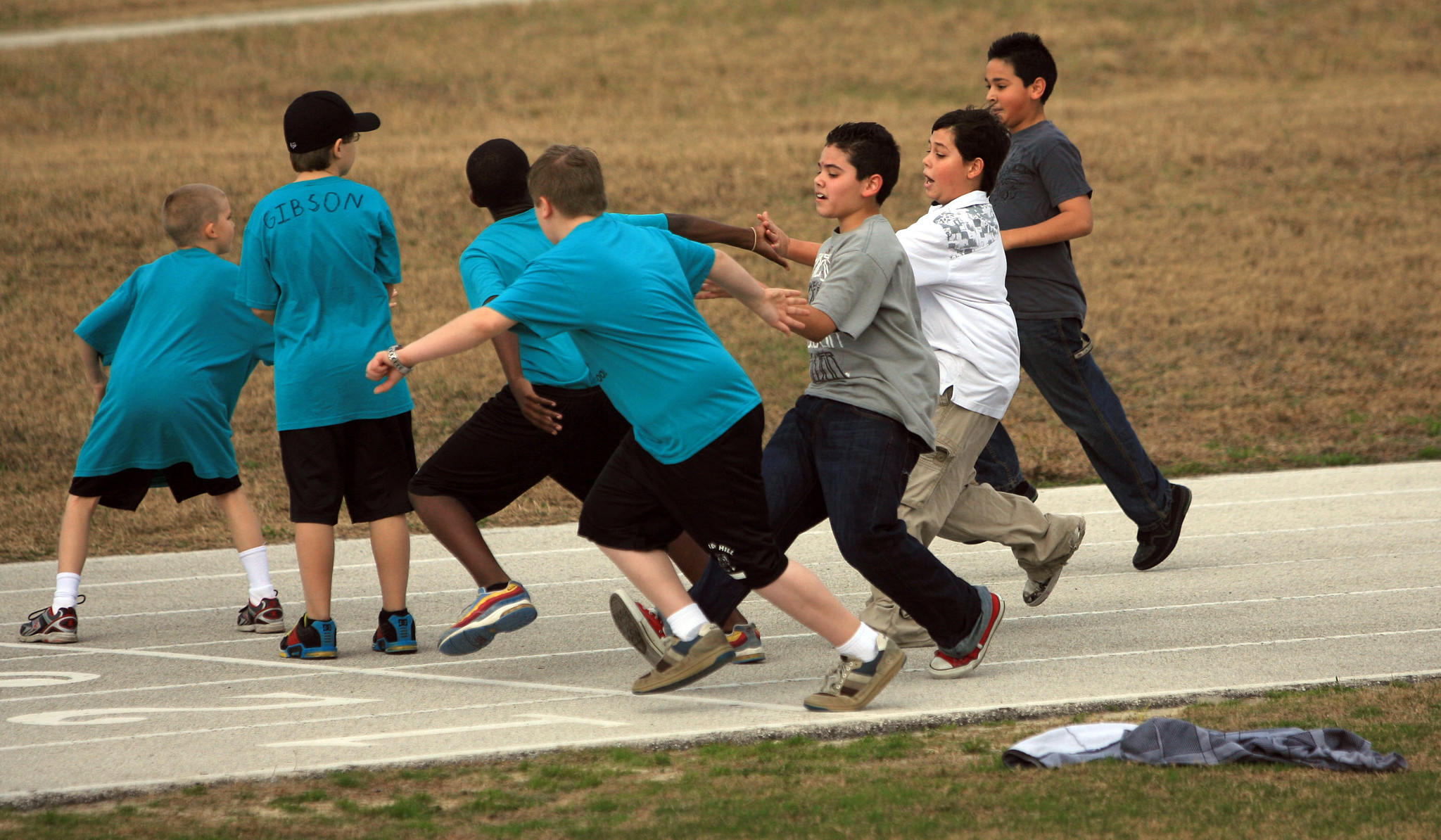Sixth graders do a relay race during their physical-education class at Windy Hill Middle in Clermont in January 2010.