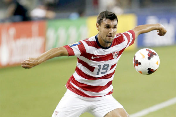 Chris Wondolowski in action during the United States' Gold Cup semifinal against Honduras in July 2013.