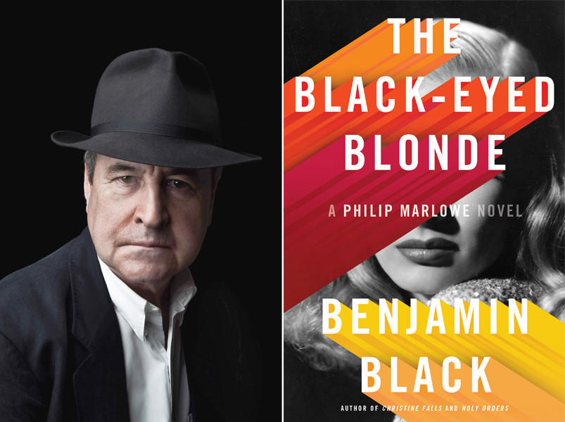"Author Benjamin Black and the cover of his book, ""The Black-Eyed Blonde."""