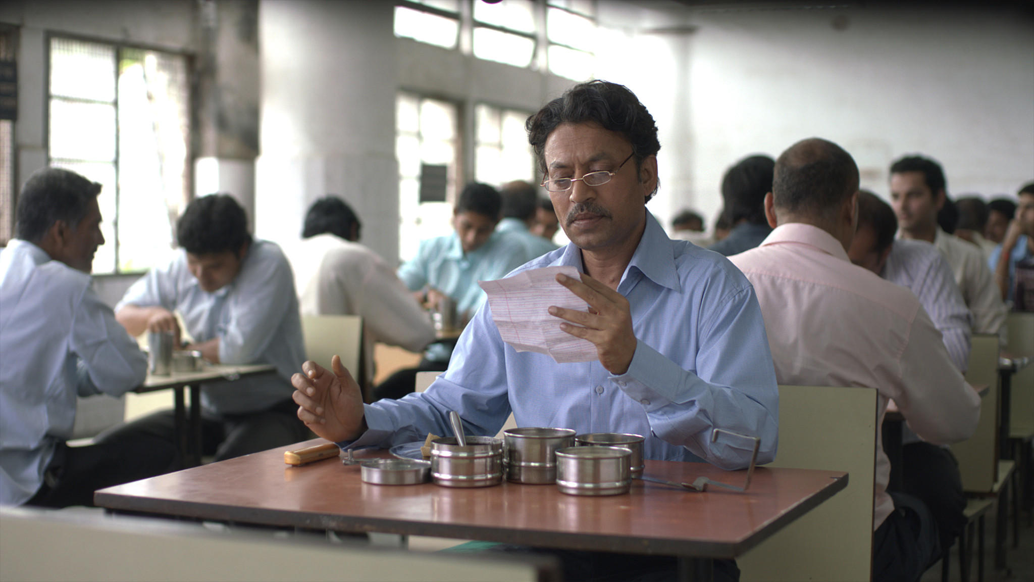 "Irrfan Khan as Saajan in the film ""The Lunchbox."""