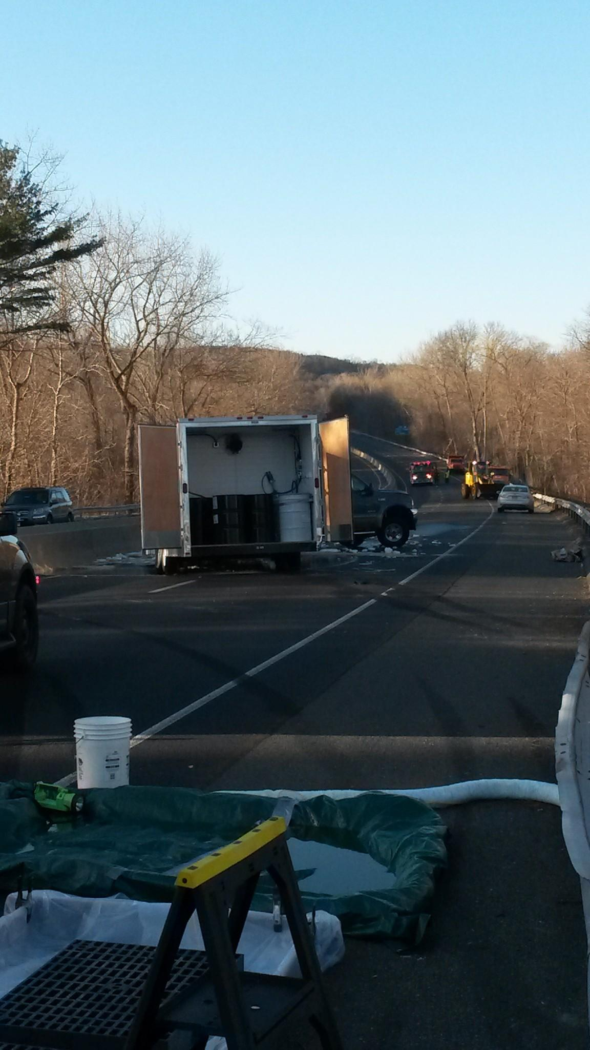 The northbound lanes of Route 8 were closed Thursday afternoon as the Department of Energy and Environmental Protection worked to clean up a chemical spill caused by a crash.