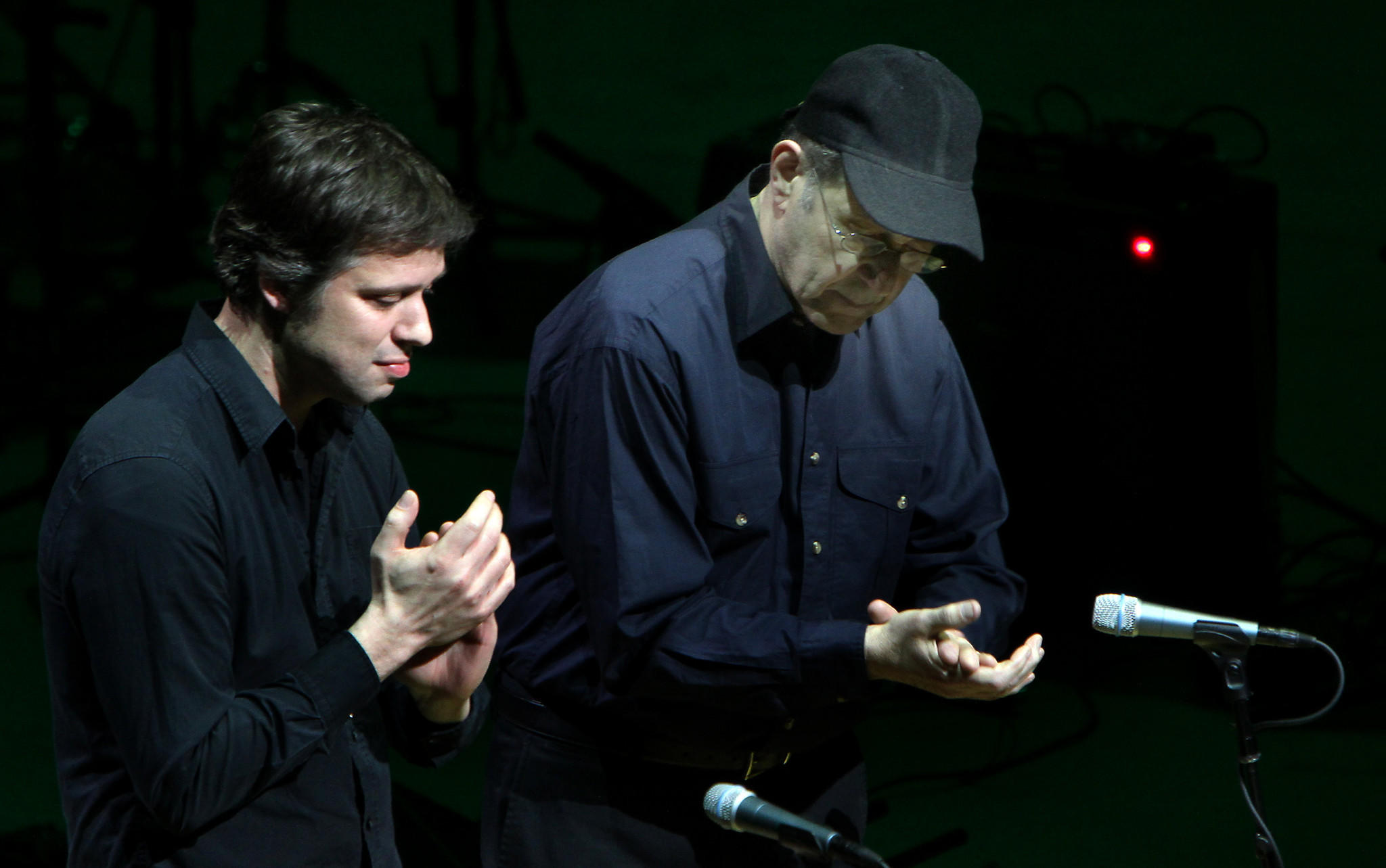 David Cossin and Steve Reich clapping music at Walt Disney Concert Hall, in Los Angeles, CA Jan. 17, 2012. The LA Phil's Green Umbrella celebrates Steve Reich's 75th birthday.