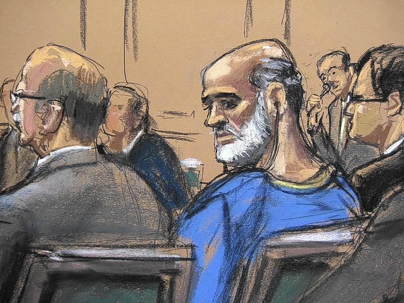 An artist sketch shows Suleiman Abu Ghaith, a son-in-law of Osama bin Laden and one of the highest-ranking al Qaeda figures to be brought to the United States to face a civilian trial, at a hearing in a Manhattan federal court in 2013.
