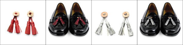 The new Cole Haan, Hook   Albert collaborative shoe tassels ($19.28) are offered in 10 colors including tango red (solo far left, on loafer  second from left) and a metallic silver called argento (second from right and far right).
