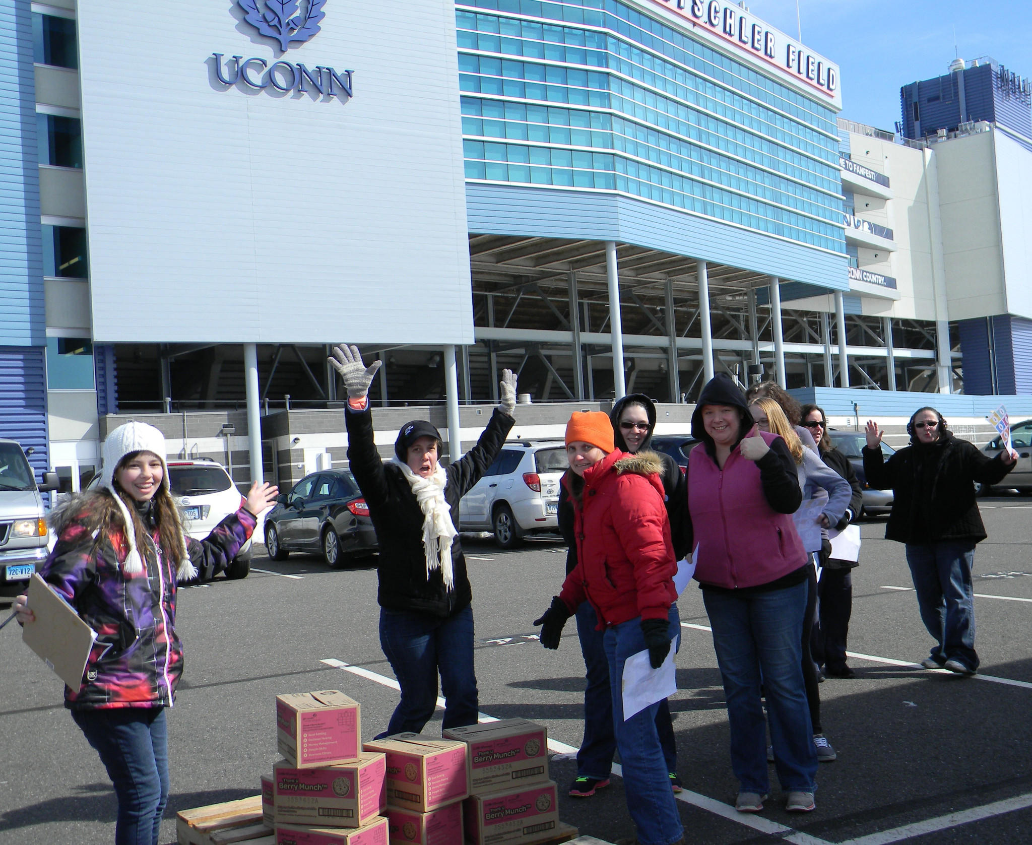 Volunteers help out at East Hartford's cookie delivery site on Saturday, March 1.