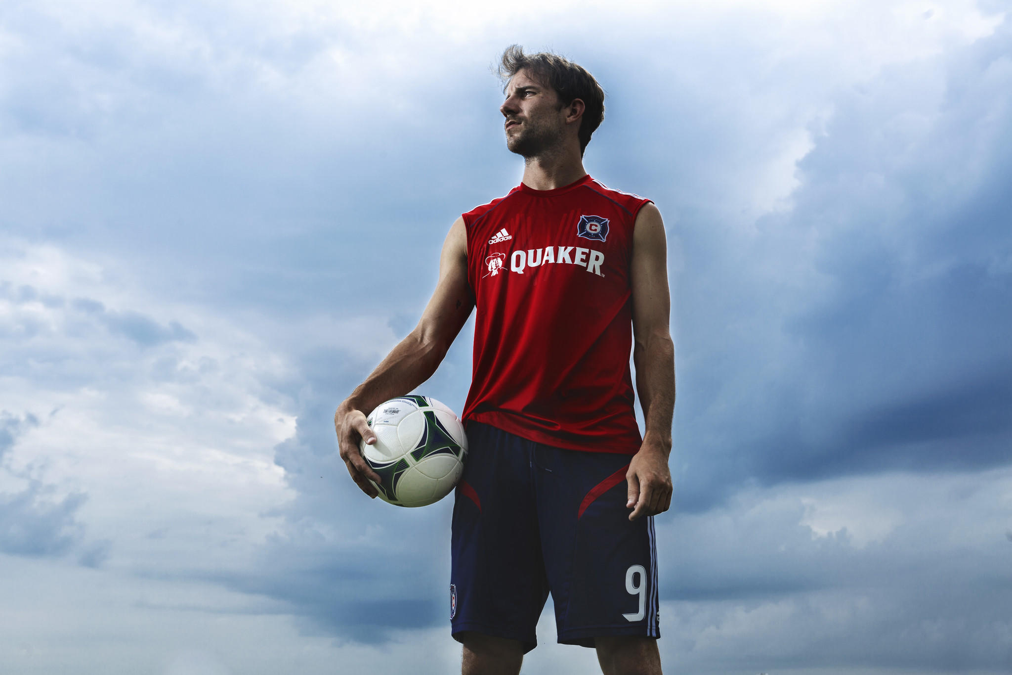 Fire player Mike Magee at a practice field in 2013.