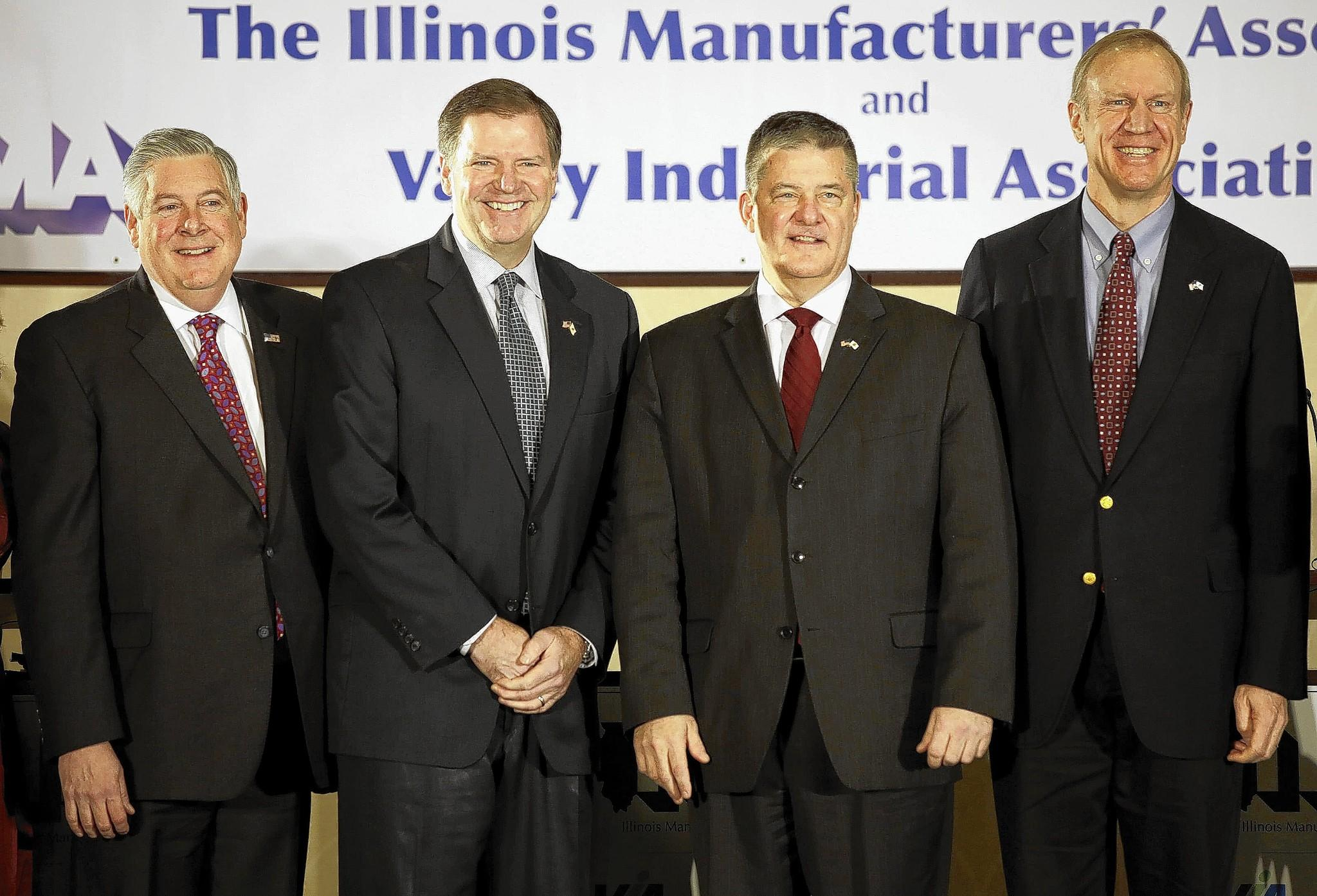 State Sens. Kirk Dillard, from left, and Bill Brady, Treasurer Dan Rutherford and businessman Bruce Rauner have faced few questions about abortion and other social issues in the Illinois Republican gubernatorial primary campaign.