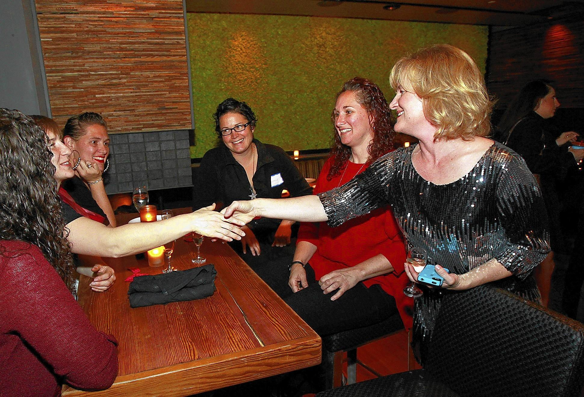 Katrina Foley, right, officially launched her campaign for Costa Mesa City Council on Wednesday night.