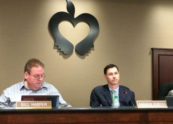 Schaumburg School District 54 Superintendent Andrew DuRoss, right, and Board President Bill Harper listen during a meeting Thursday evening.