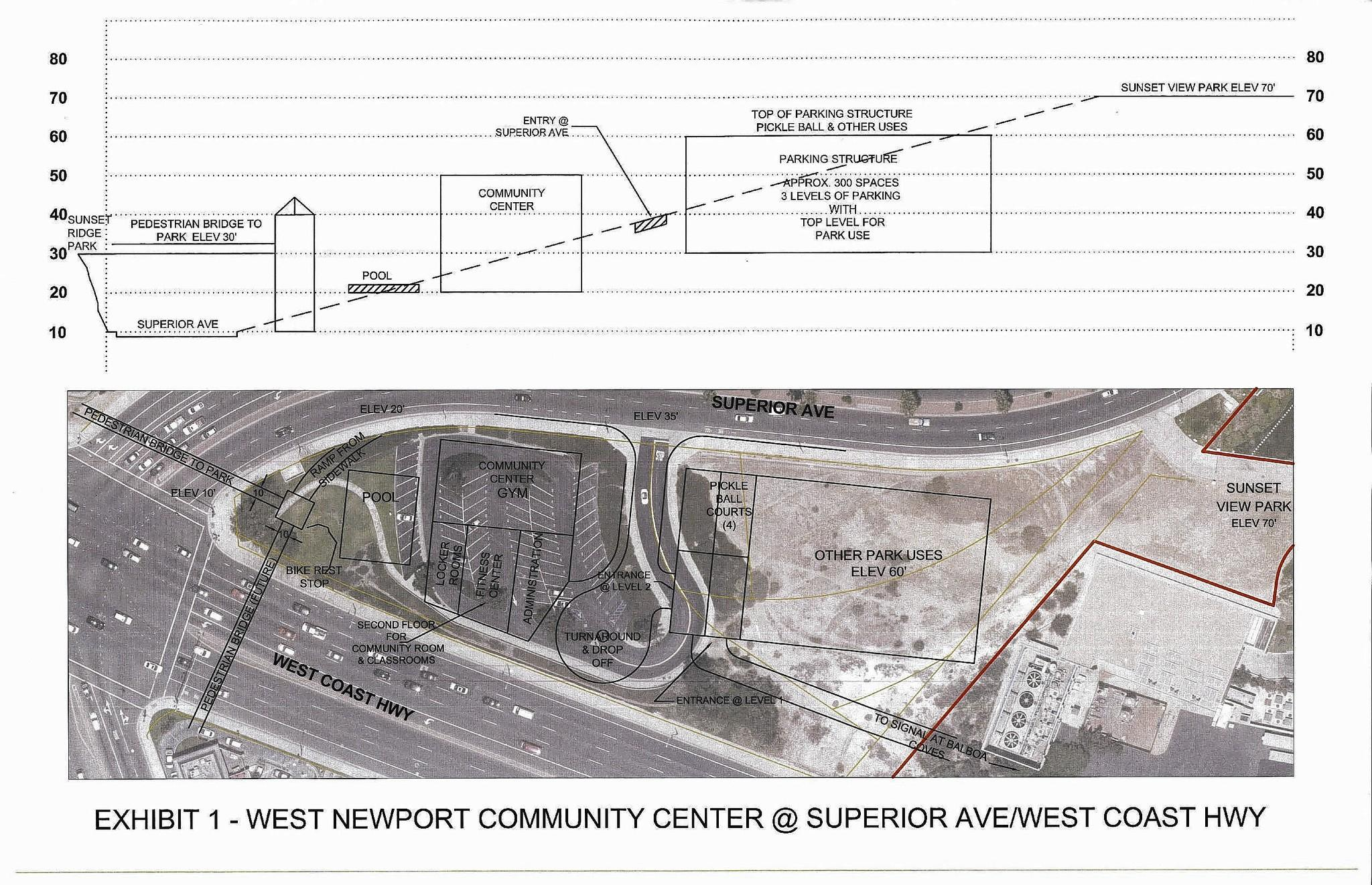 Early plans for two possible sites for a new community center in West Newport Beach, which the City Council will discuss during a study session Tuesday.