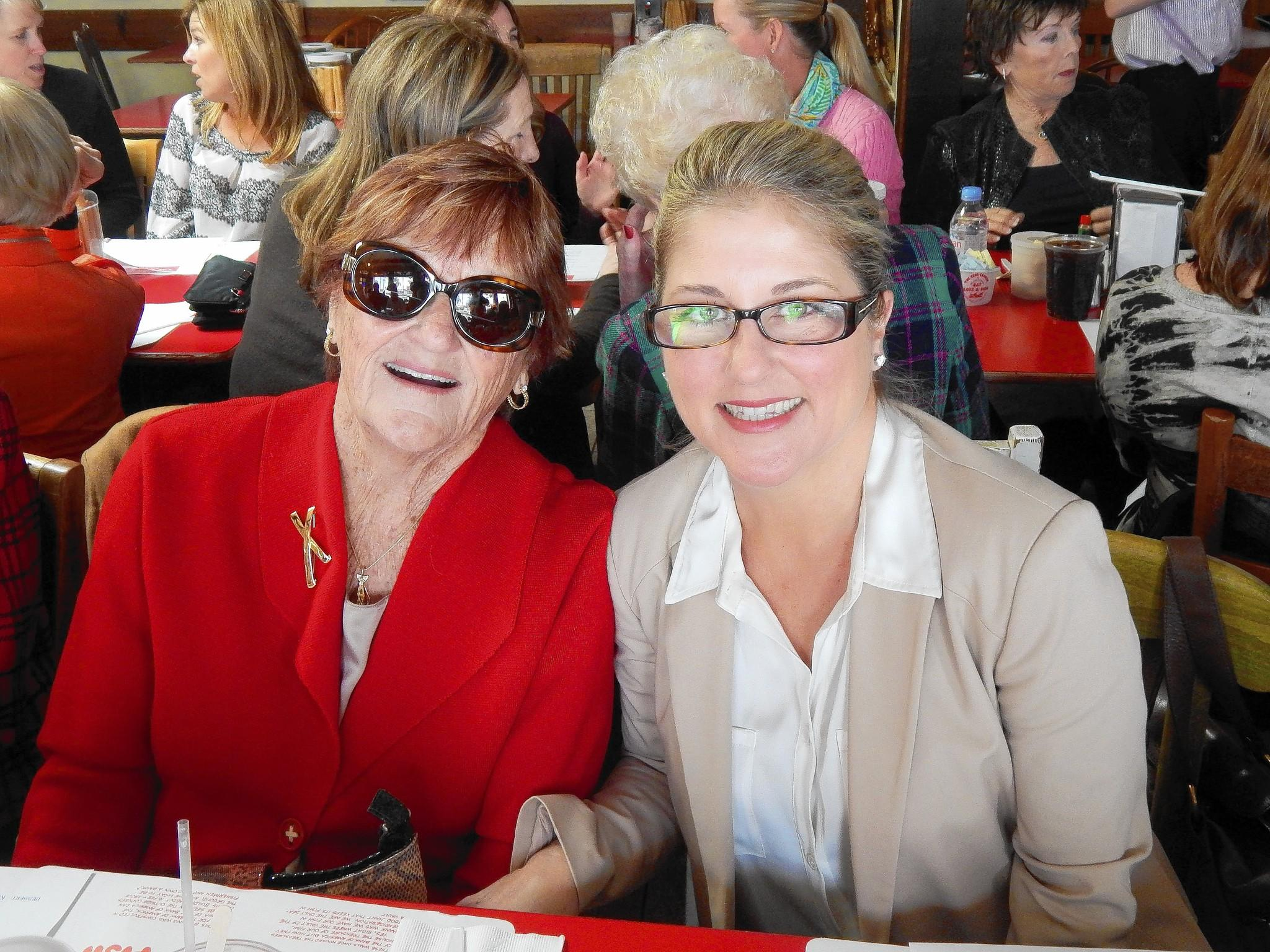 "Crab Cooker royalty Helen Roubian and her daughter Rhonda Wasko welcome 40 members of ""The 1221 Club"" for lunch."