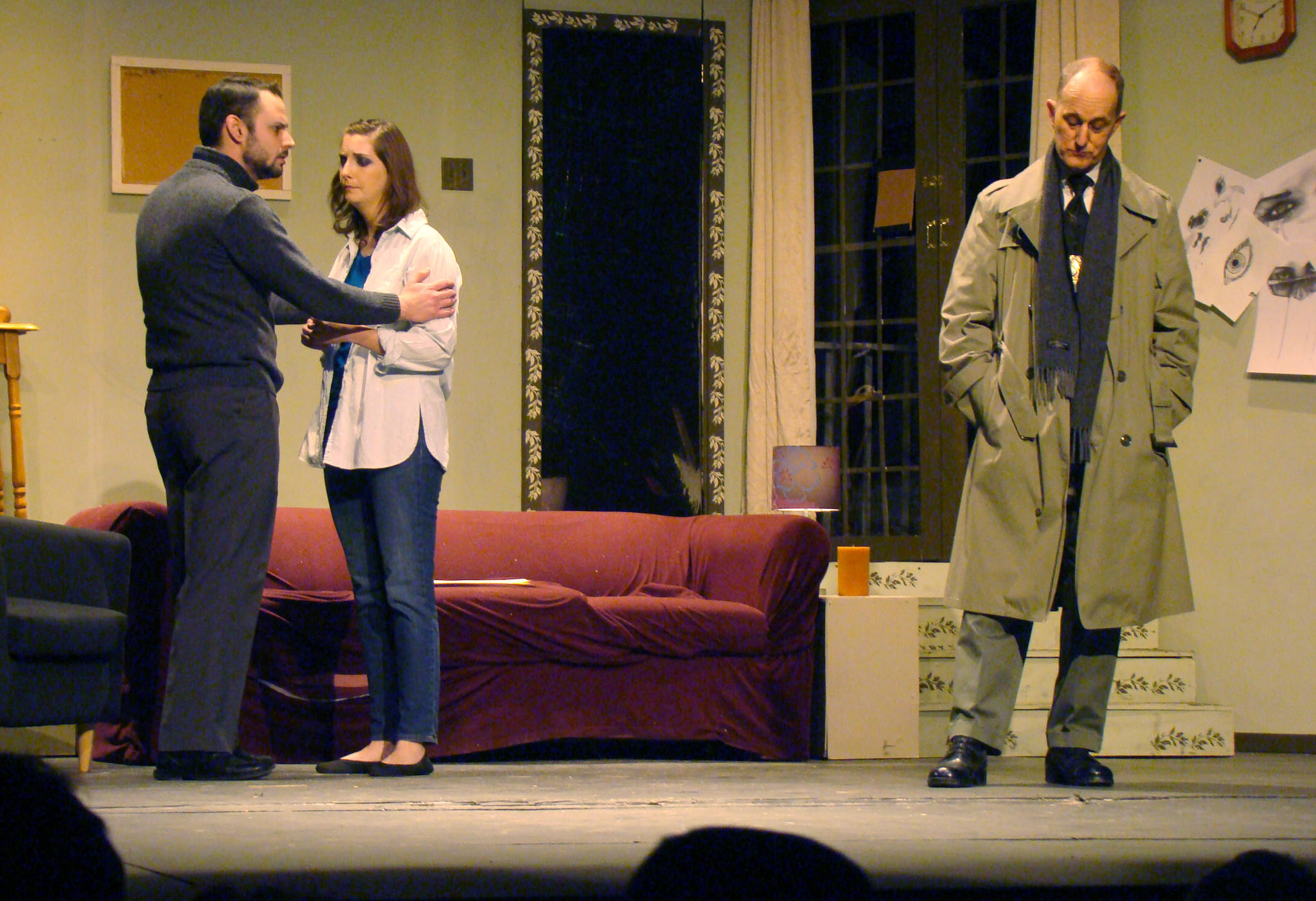 From left, Pat Reynolds as Mark Ryder, Amanda Magoffin as Bret Conway and James McDaniel as Detective Russell Craig star in Dark Passages, continuing through March 16 at Bowie Community Theater.