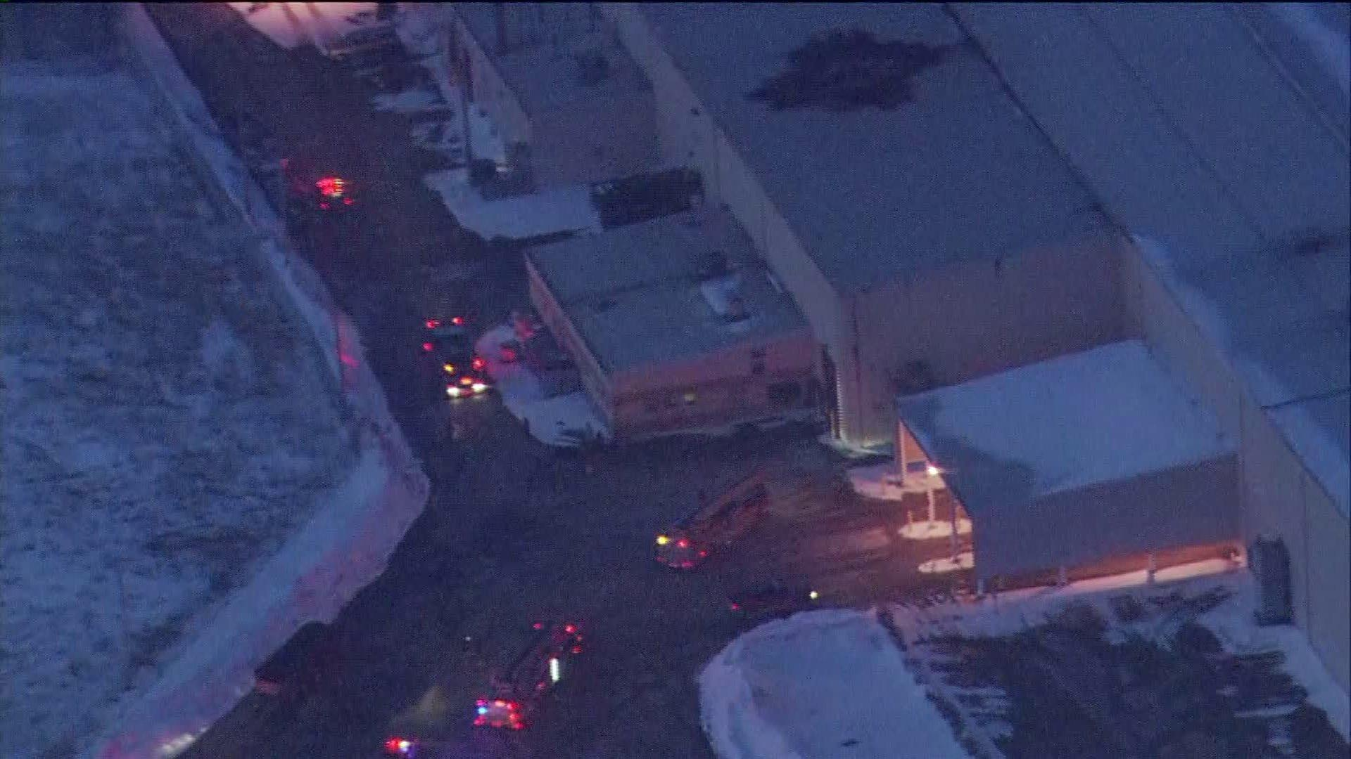 Fire trucks are visible outside a steel plant on the Far South Side early this morning.