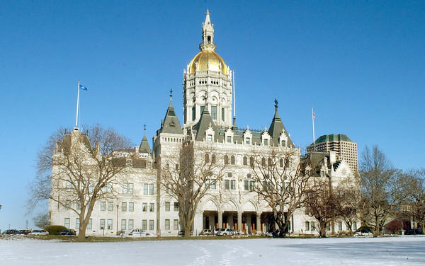The Connecticut State Capitol, in winter.