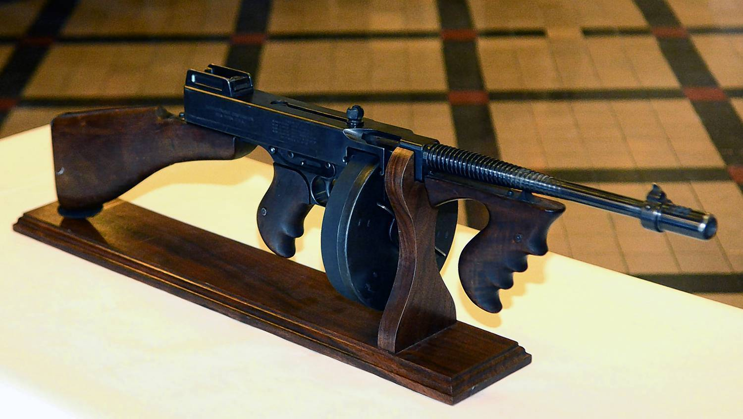 A Thompson sub-machine gun, stolen by John Dillinger's gang in 1933, was returned to Auburn in Dekalb County, Indiana.
