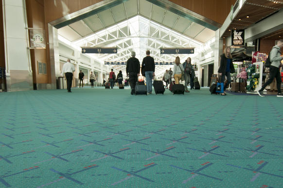The teal blue carpeting at Portland International Airport gets a lot of love.
