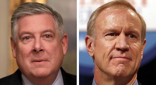 State Sen. Kirk Dillard, left, and Bruce Rauner.