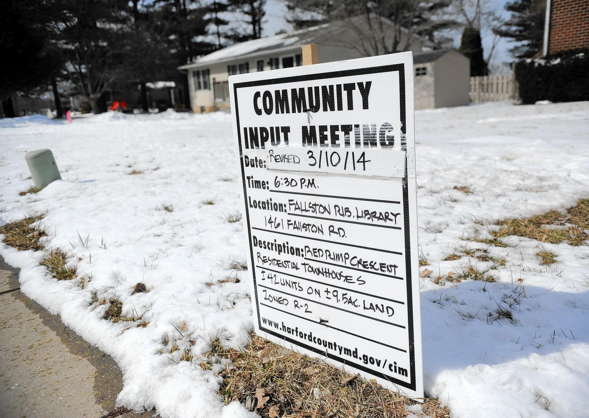 A community input meeting will be held March 10 at 6:30 p.m. at the Fallston Library about a plan to build 40 townhouses off the 400 block of Red Pump road near Red Pump Elementary School.