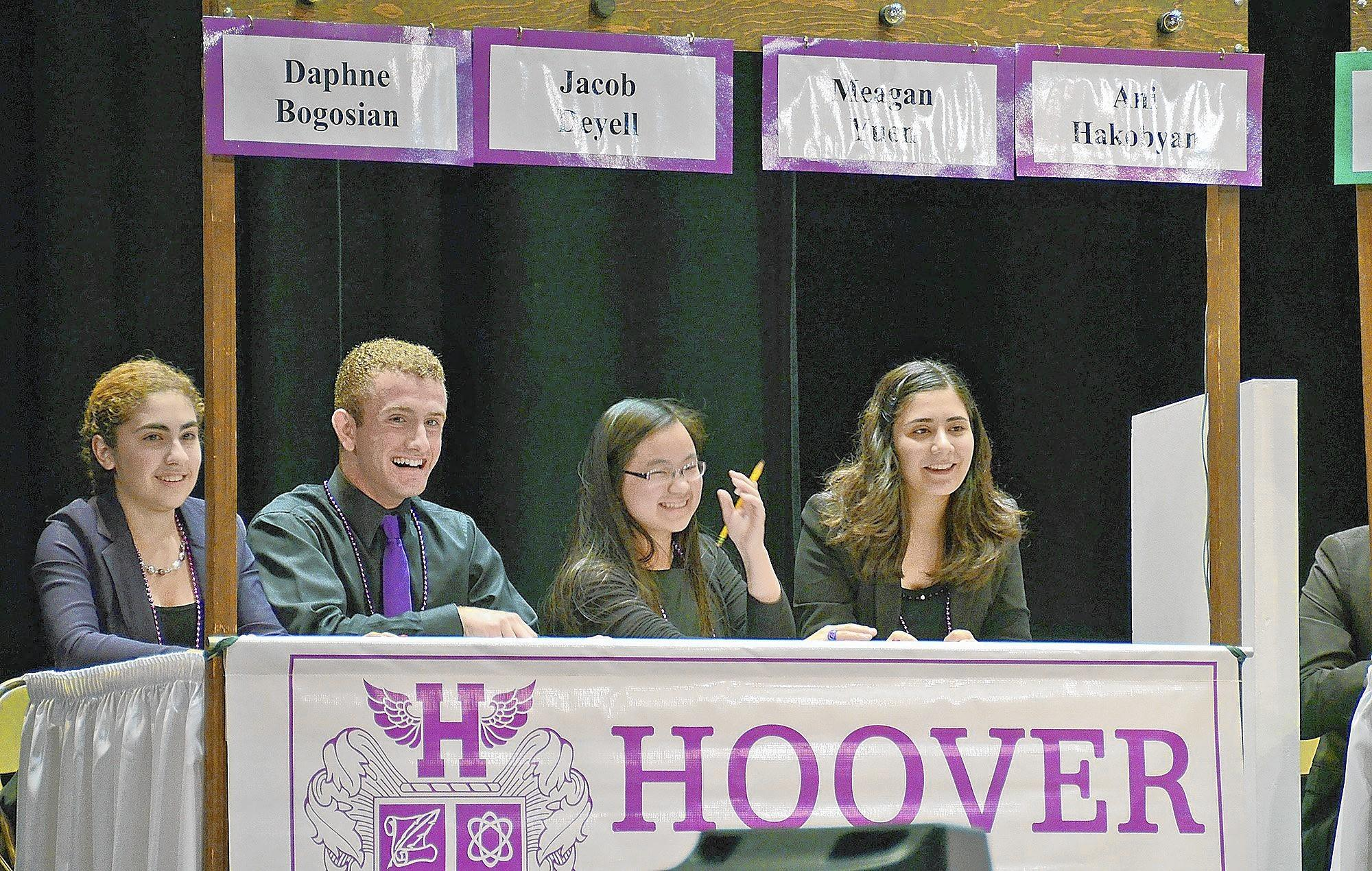 Hoover High School won the 24th Annual Glendale Unified School District High School Scholastic Bowl this week at Glendale High School's auditorium. In addition to winning the competition against the other three high schools, Clark Magnet, Crescenta Valley and Glendale, Hoover also won the essay contest last week. from left to right: Daphne Bogosian, Jacob Deyell, Meagan Yuen and Ani Hakobyan (not pictured Young Cho.)