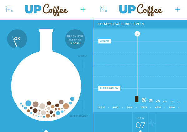 Screenshots of the Up Coffee app that tracks your caffeine intake and how it affects your sleep.