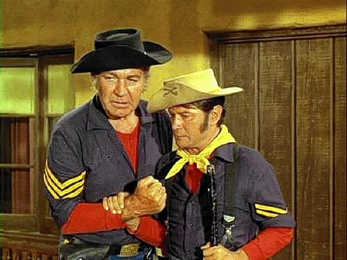 "Forrest Tucker, left, and Larry Storch, starred in ""F Troop."" Storch will be in Williamsburg for the Williamsburg Film Festival."