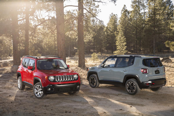 Jeep used the 2014 Geneva Motor Show to debut its all-new Renegade compact crossover SUV. Seen here in Latitude, left, and Trailhawk models, the Renegade will be Jeep's smallest model and targets other quirky crossovers like the Nissan Juke and Kia Soul.
