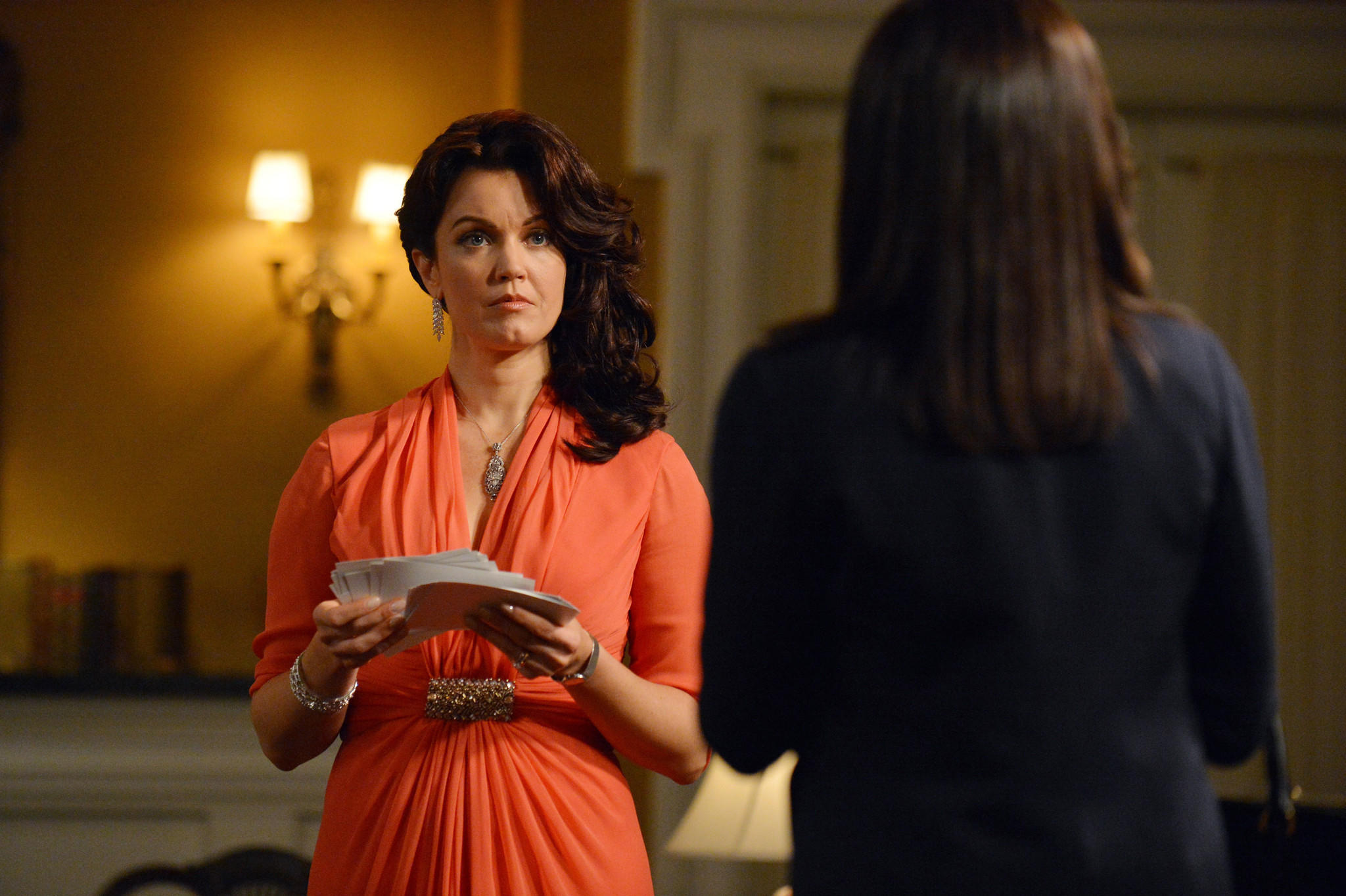 "Bellamy Young, left, as Mellie Grant, and Kerry Washington, as Olivia Pope, in a scene from ""Scandal."""