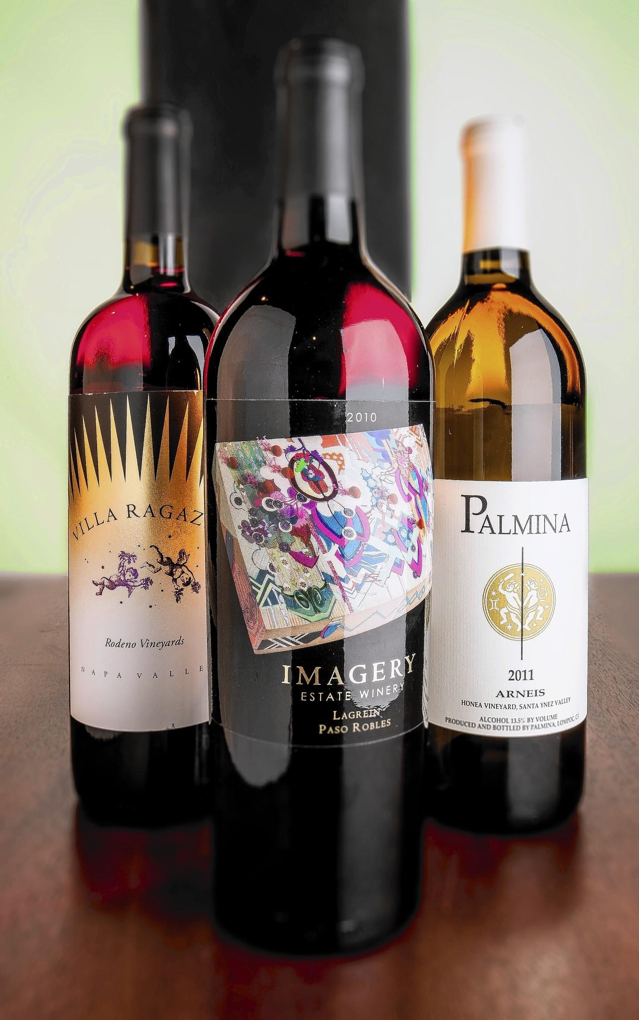 Three bottles of wines made from Italian grapes grown in California.