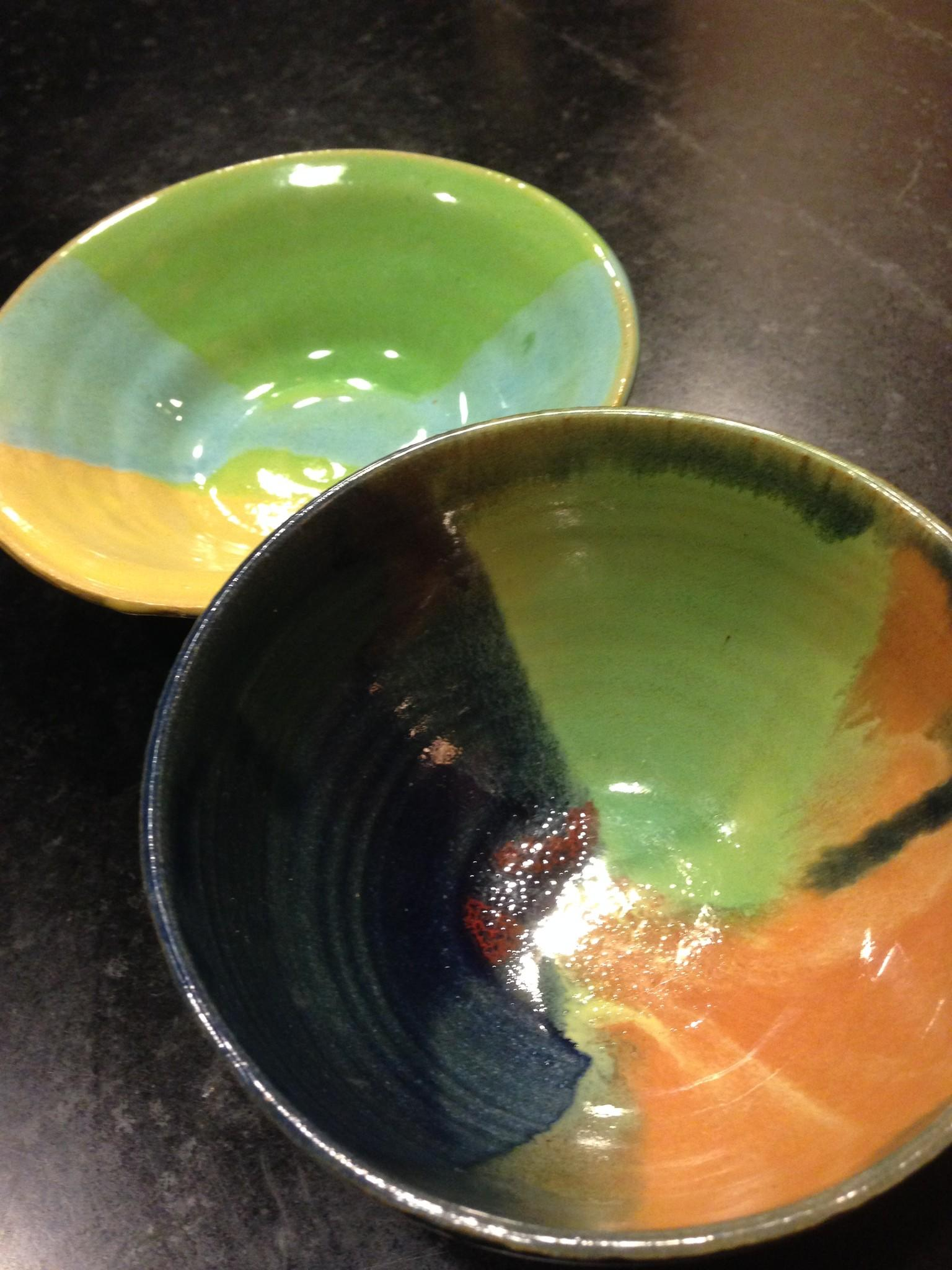 Ceramic bowls made by Hall High School students will be for sale at the Empty Bowls banquet on March 26.