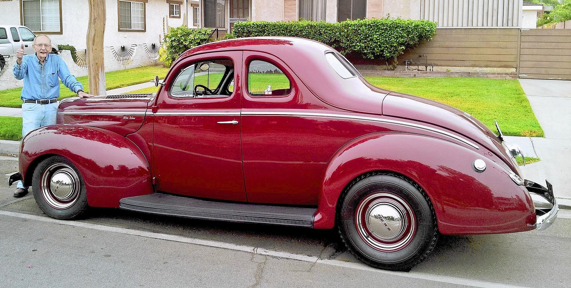 Hot rod legend Tom Medley, a longtime Burbank resident who passed away on Sunday, March 1, pictured with his restored 1940 Ford Coupe in July 2013.