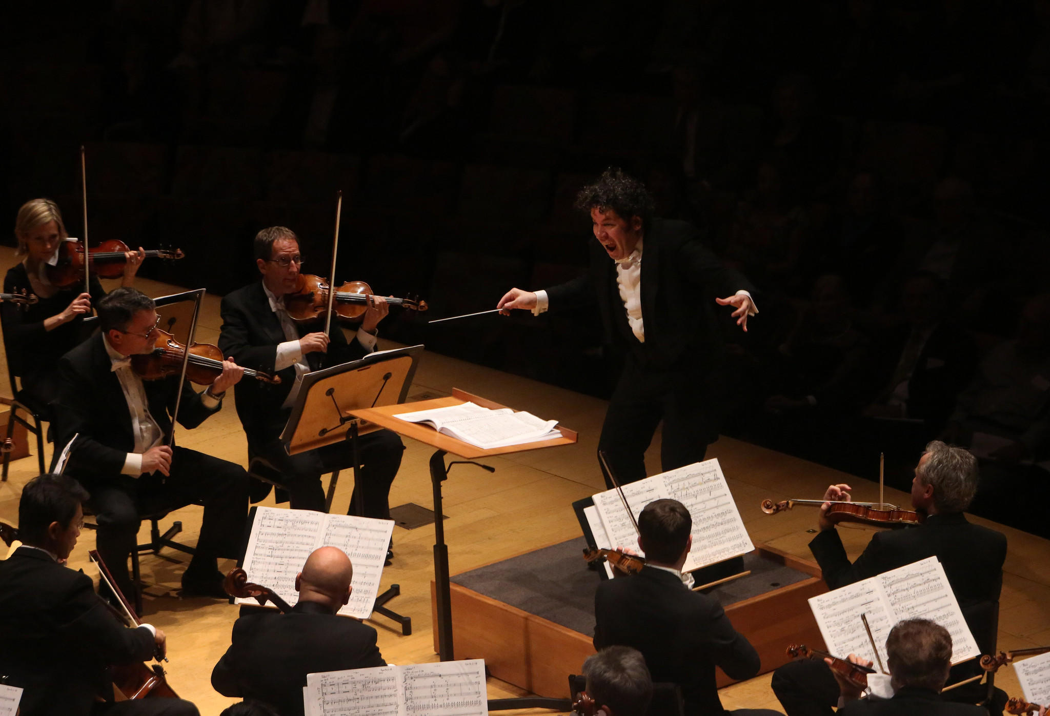 Gustavo Dudamel conducts the L.A. Philharmonic in John Corigliano's Symphony No. 1, at the Walt Disney Concert Hall.