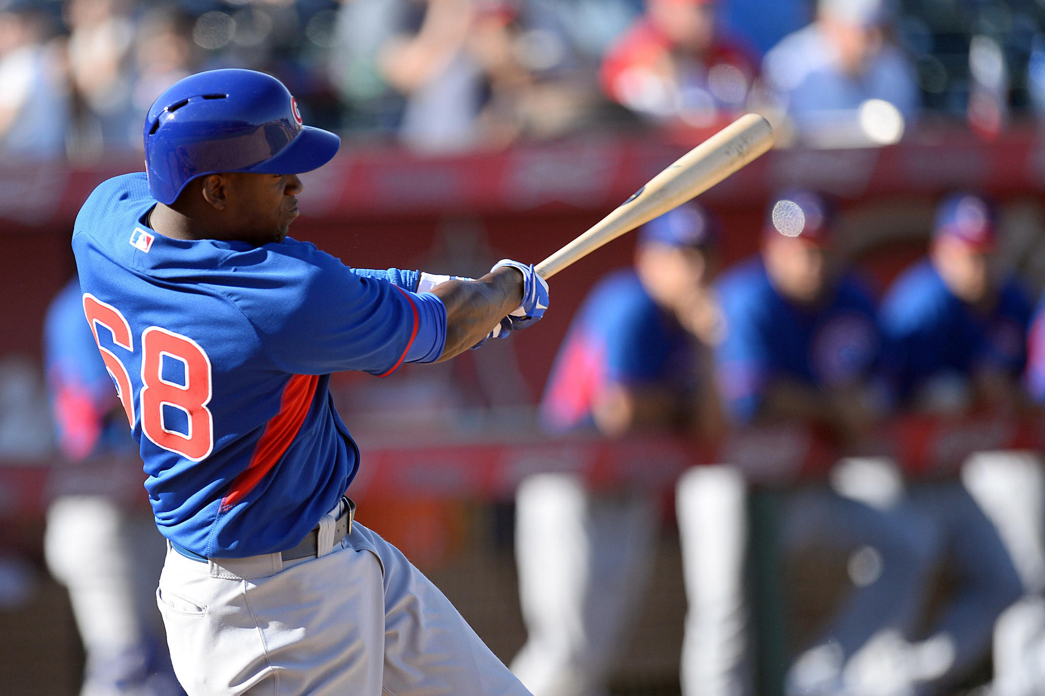 Chicago Cubs right fielder Jorge Soler (68) hits a triple to drive in the go ahead run in the ninth inning of a spring training game against the Los Angeles Angels at Tempe Diablo Stadium. The Cubs won 3-2.