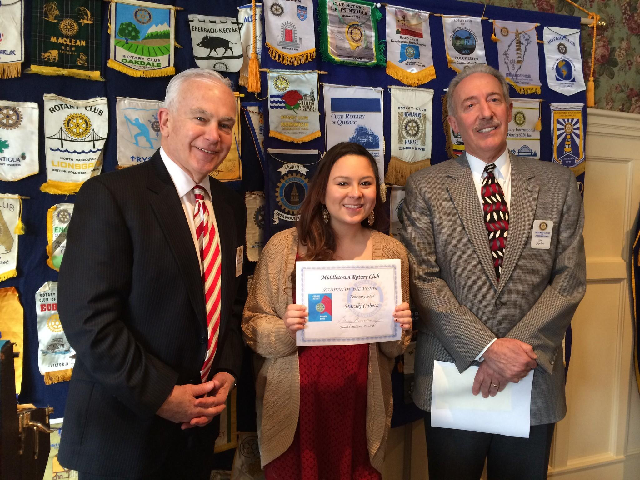 From left to right: Middletown Rotary Club President Garry Mullaney, Student of the Month Haruki Cubeta, and Middletown Rotarian Joseph Marino.
