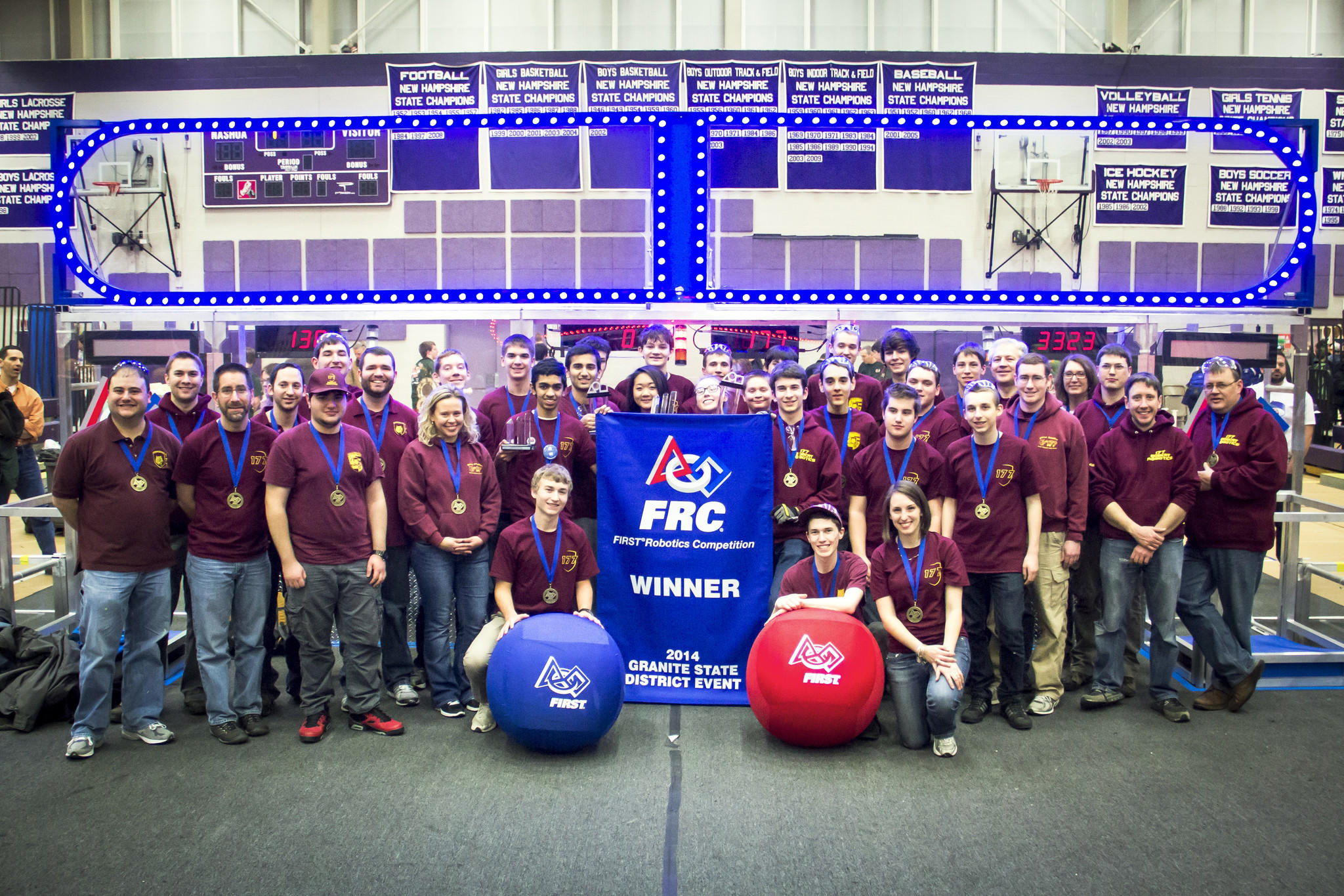 Bobcat Robotics Celebrating Their Win. Back row, from left to right: David Bridge, Evan Goldberg, Jacob Troiano, Jesse Wilkinson, Evan Angell, Tony Valente, Rahul Rajagopalan, Alex Griswold, Micael Brower, Ben Liebman, Anthony Coralli, Teddy Tavernier, Matt Garneau, Brian Arnesen, Al Mothersele, Debbie Tavernier, David Schroeder, Chris Carnevale, Ulf Jonsson. Middle row, from left to right: Pete Matteson, Steve Cohen, Hootan Kashi, Lynn Casagranda, Prathamesh Bang, Emma Guo, Allison Conklin, Benjamin Dobbs, Ethan Aries, Shane McCarthy, Austin Lavigne, Joe Howell, James Desmond, Eric O'Brien. Front row, from left to right: Michael Liebman, Michael Lillis, Jamie Lang.