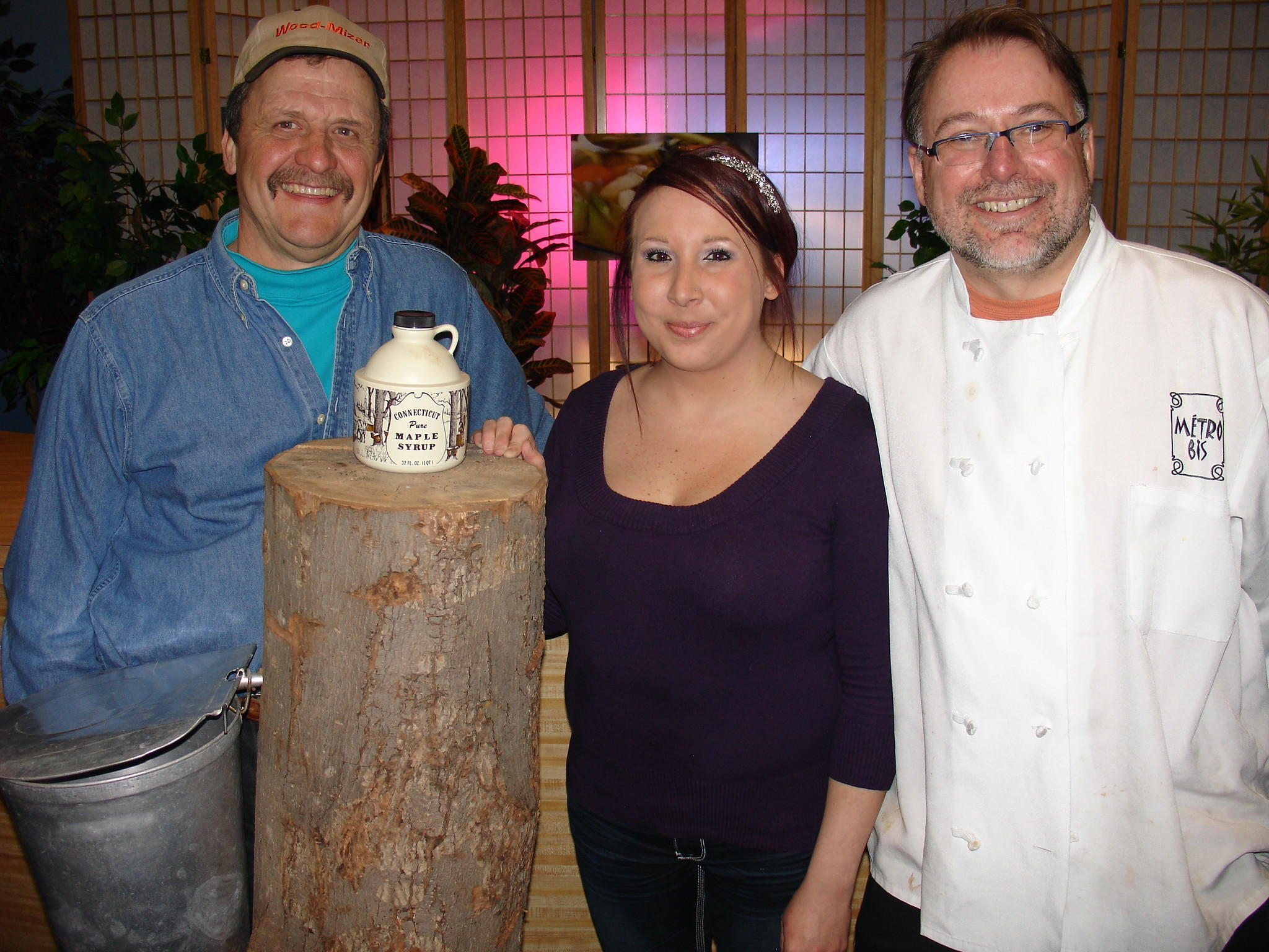 "From left to right: Chuck Drake, Emily Redmond and Chris Prosperi celebrate maple season on the March episode of ""New England Cuisine""."