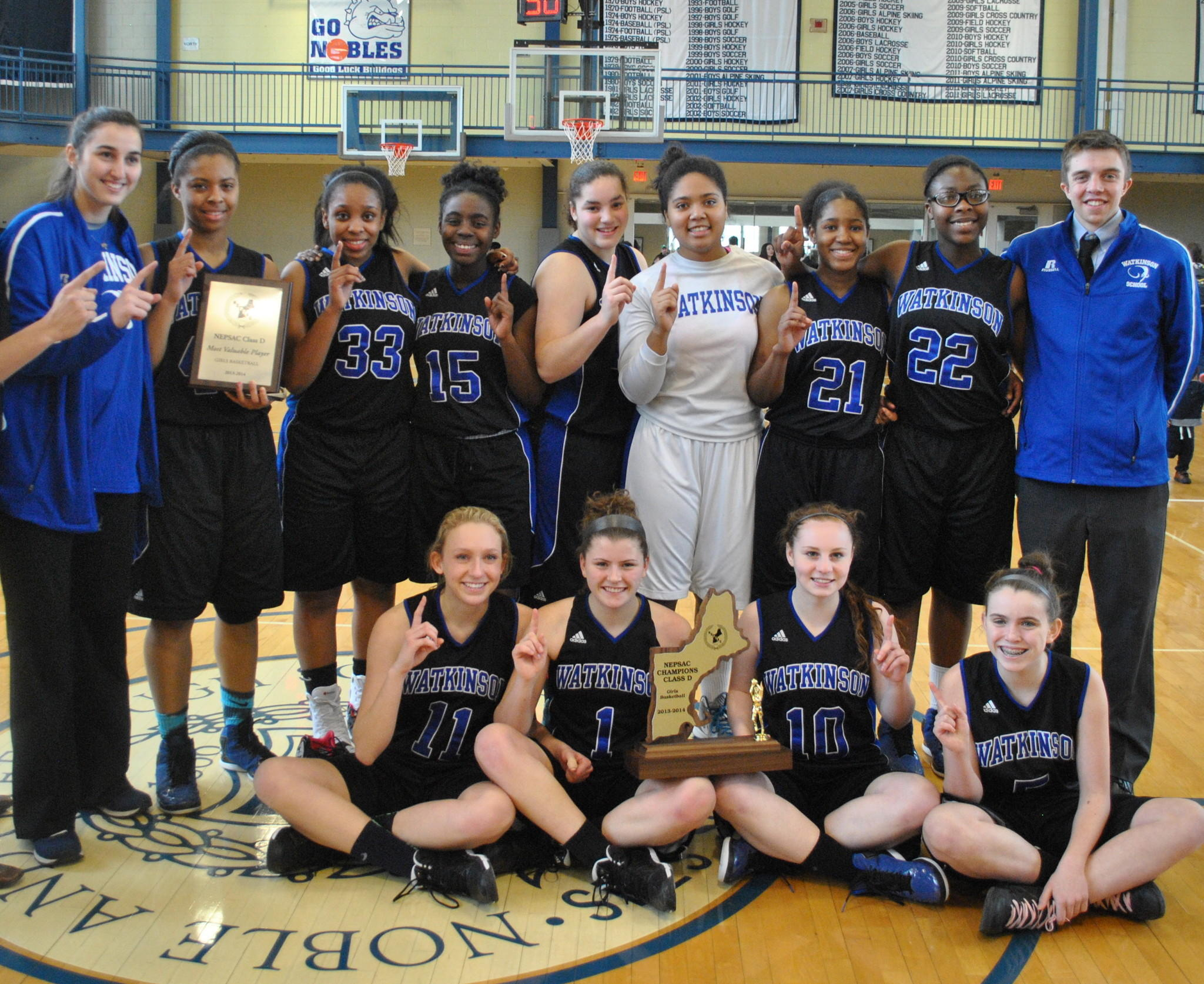 Top row, from left to right: Busra Saral (Turkey), Tianna Conway (Manchester), Taylor Saunders (Hartford), Erin Caesar (Windsor), Victoria Santiago (West Hartford), Skyler O'Neil (Windsor), Amber Fowler (Hartford), LeeAnne Green (Windsor), Andrew Owens '08 (Assistant Coach, West Hartford); bottom row from left to right: Hannah Davis (Marlborough), Michaela Boyle (West Hartford), Mikayla Birney (Wallingford) and Siobhan Boyle (West Hartford); Not pictured: Coach Yassine Talhaoui (Windsor) and Assistant Coach Rachel Meyers (New Haven).