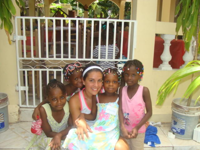 Nina Brandi during her previous trips to Haiti to help children at risk of becoming human trafficking victims.