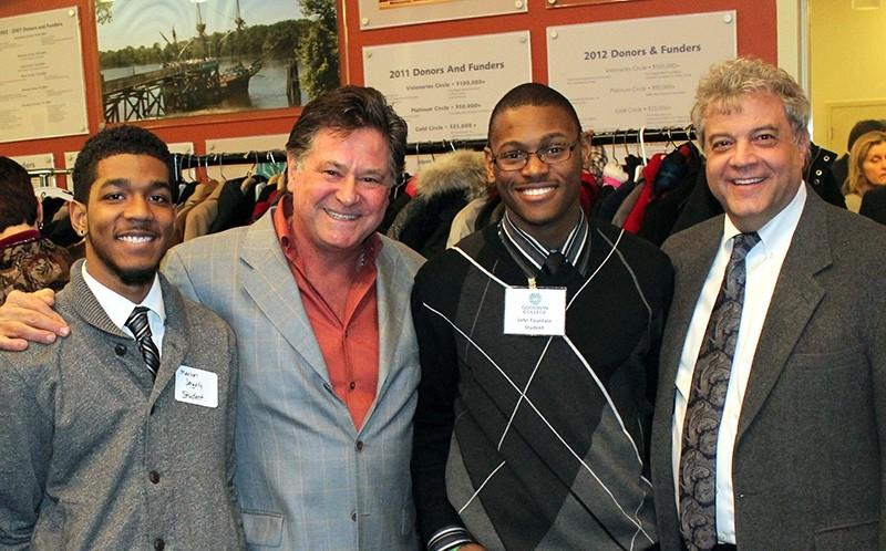 From left to right: Marlon Jengelly, Goodwin College General Studies student; Stew Leonard, Jr., Vital Voices guest speaker; John Fountain, Goodwin College Criminal Justice student, and Mark Scheinberg, Goodwin College president.