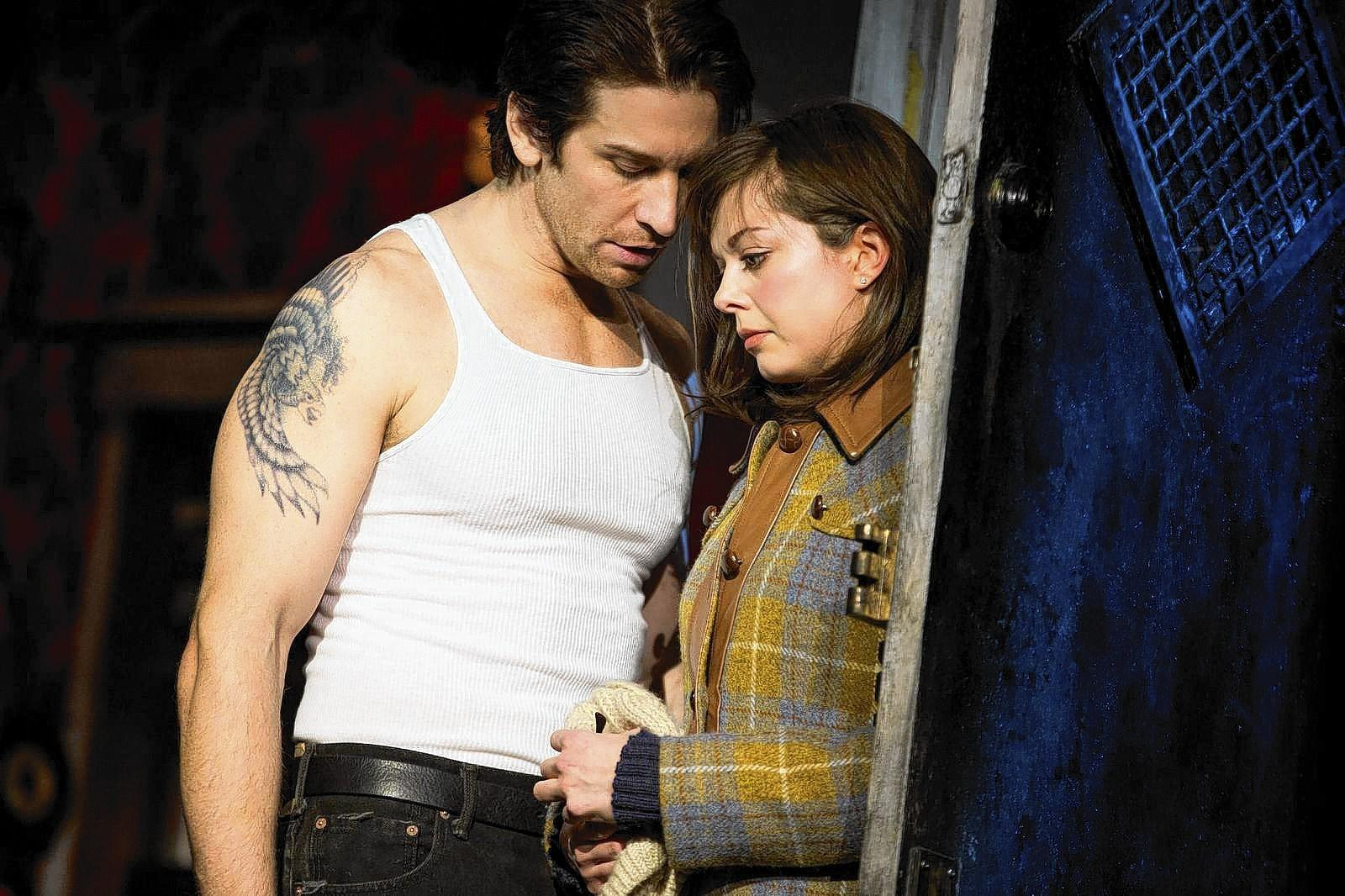 "Margo Seibert and Andy Karl, the stars of the new ""Rocky"" adaptation on Broadway."