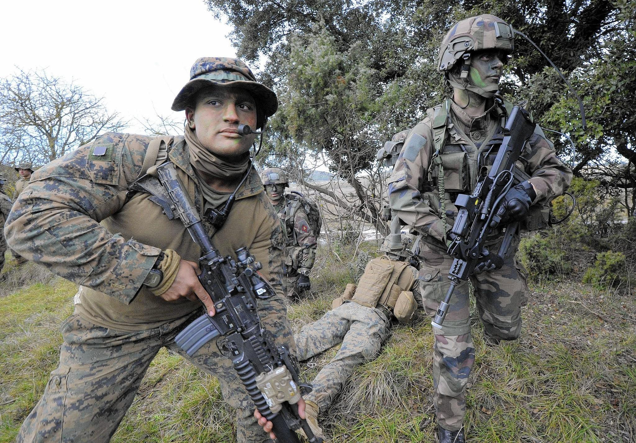 A U.S. Marine, left, in the Special Purpose Marine Air Ground Task Force for Crisis Response, and a French marine take part in a training exercise in southern France. The U.S. force responds to crises in Africa.
