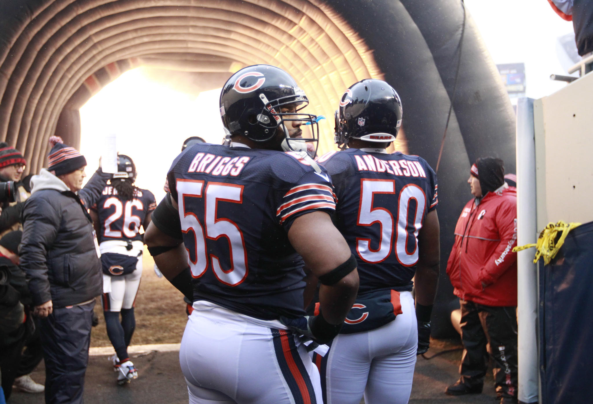 Chicago Bears outside linebacker Lance Briggs (55) before being introduced, before the start of the game against the Green Bay Packers at Soldier Field on Sunday Dec. 29, 2013.