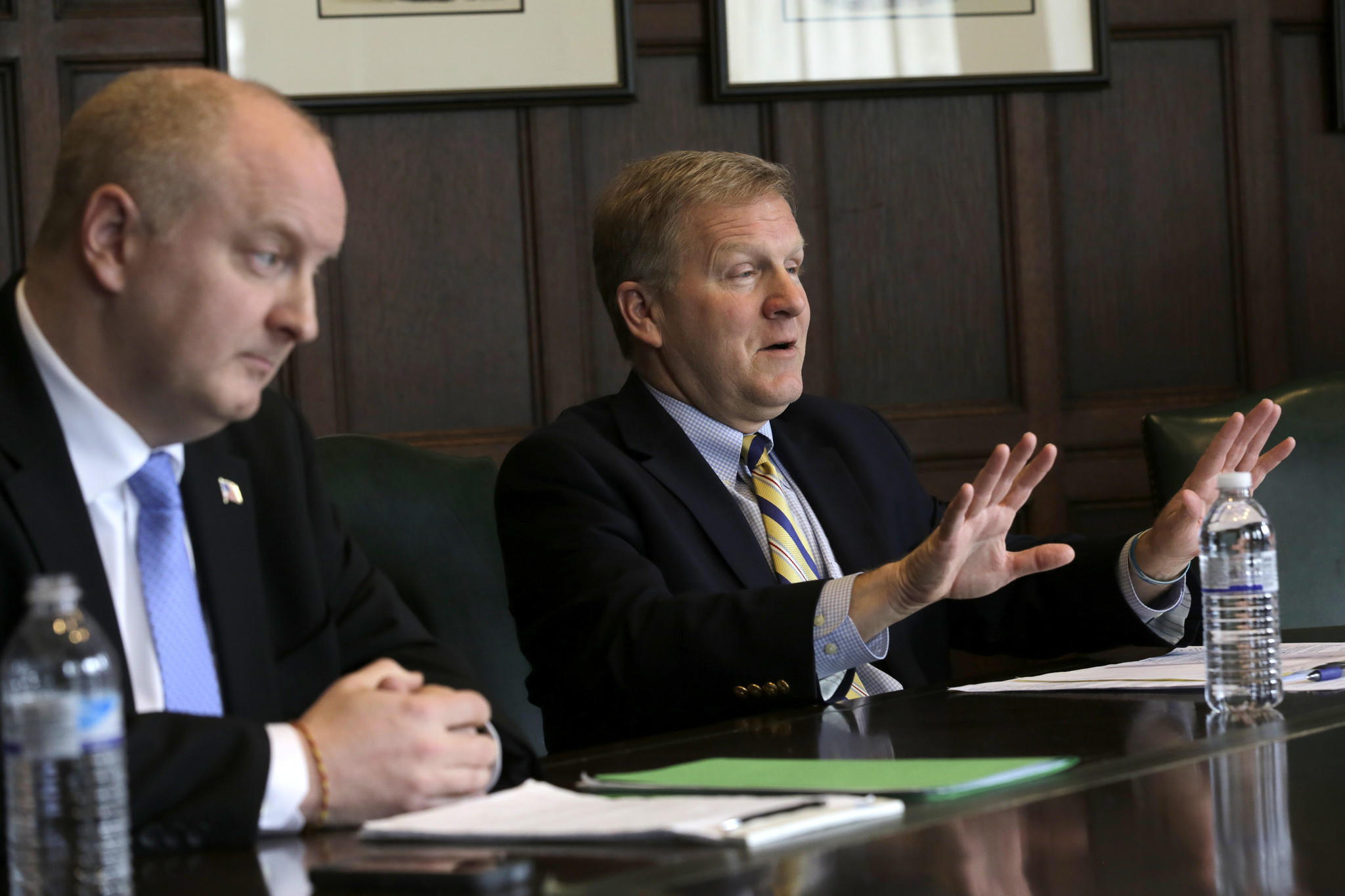 Republican candidates for Illinois Treasurer, DuPage County Auditor Bob Grogan, left, and State Rep. Tom Cross, meet with the Chicago Tribune Editorial Board on Feb. 13.