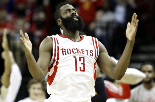 Houston Rockets guard James Harden reacts after hitting a three-point shot against the Indiana Pacers in March. The Lakers host the Rockets on Tuesday.