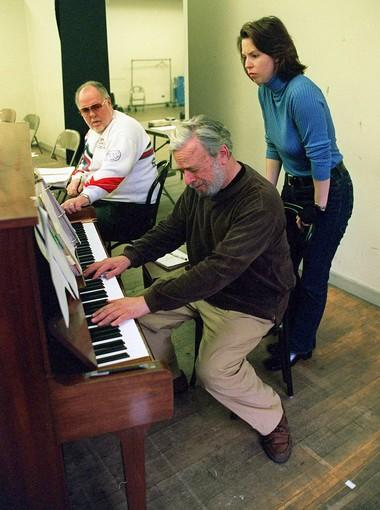 Musical director Paul Gemignani, Sondheim and rehearsal pianist Annbritt du Chateau.