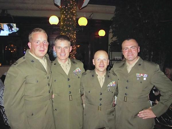 AMERICA'S FINEST: Capt. William Gibbs, 1st Lt James Peart, Capt. Matthew Pederson, 1st Lt Christopher Fitzgerald attend HonorVet dinner in Newport Beach.